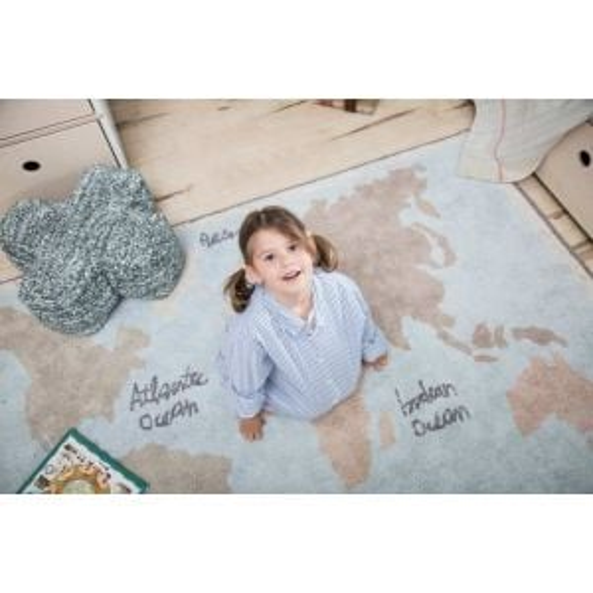 Dywan dziecięcy VINTAGE MAP 140x200 niebieski