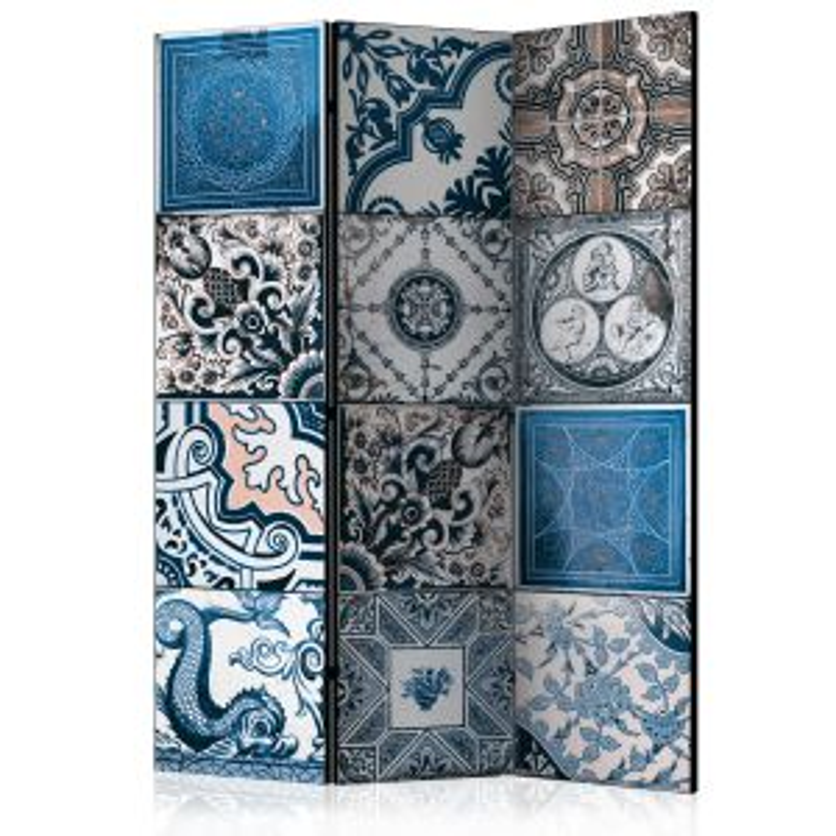 Parawan 3-częściowy - Niebieska arabeska [Room Dividers]