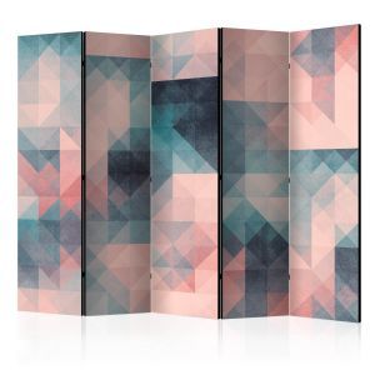 Parawan 5-częściowy - Piksele (zielono-różowy) II [Room Dividers]