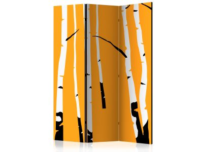 [ Parawan 3-częściowy - Birches on the orange background Room Dividers]