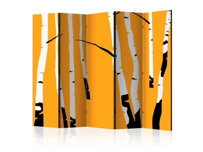 [ Parawan 5-częściowy - Birches on the orange background II Room Dividers]