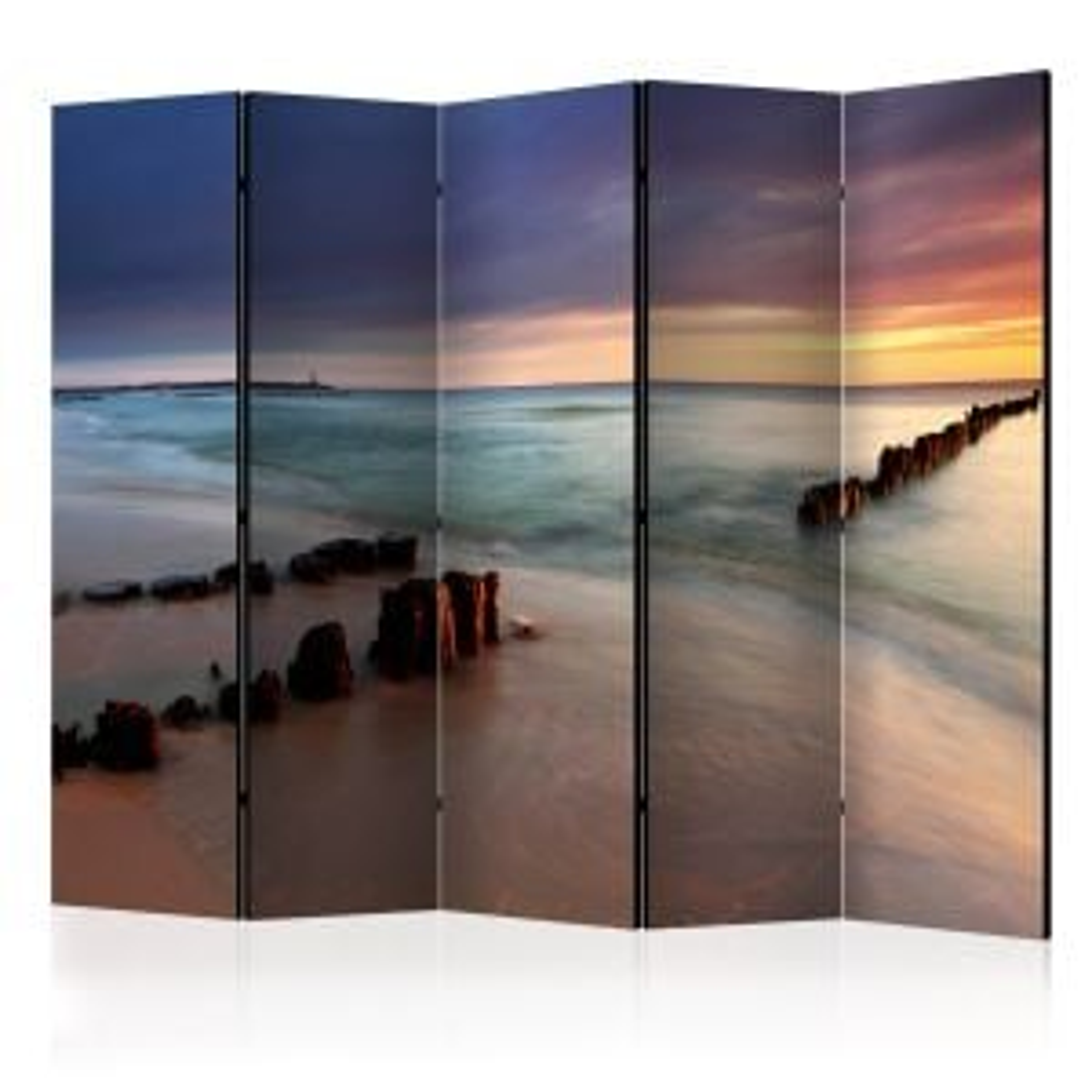 Parawan 5-częściowy - Plaża - wschód słońca II [Room Dividers]