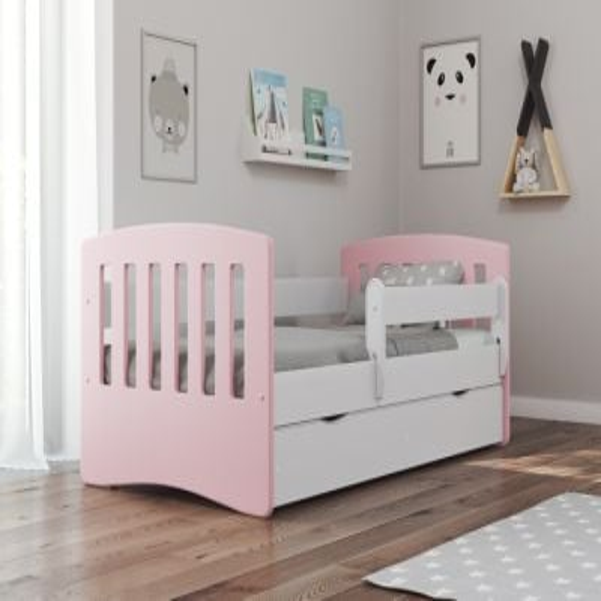 Łóżko dziecięce CLASSIC 1 MIX 140x80 różowe