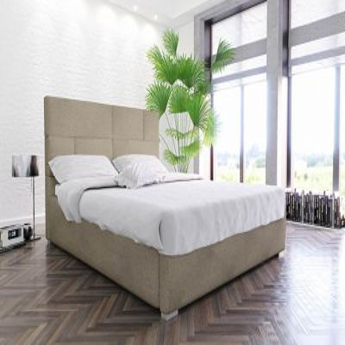 Łóżko PECOS 160x200 beżowe z pojemnikiem