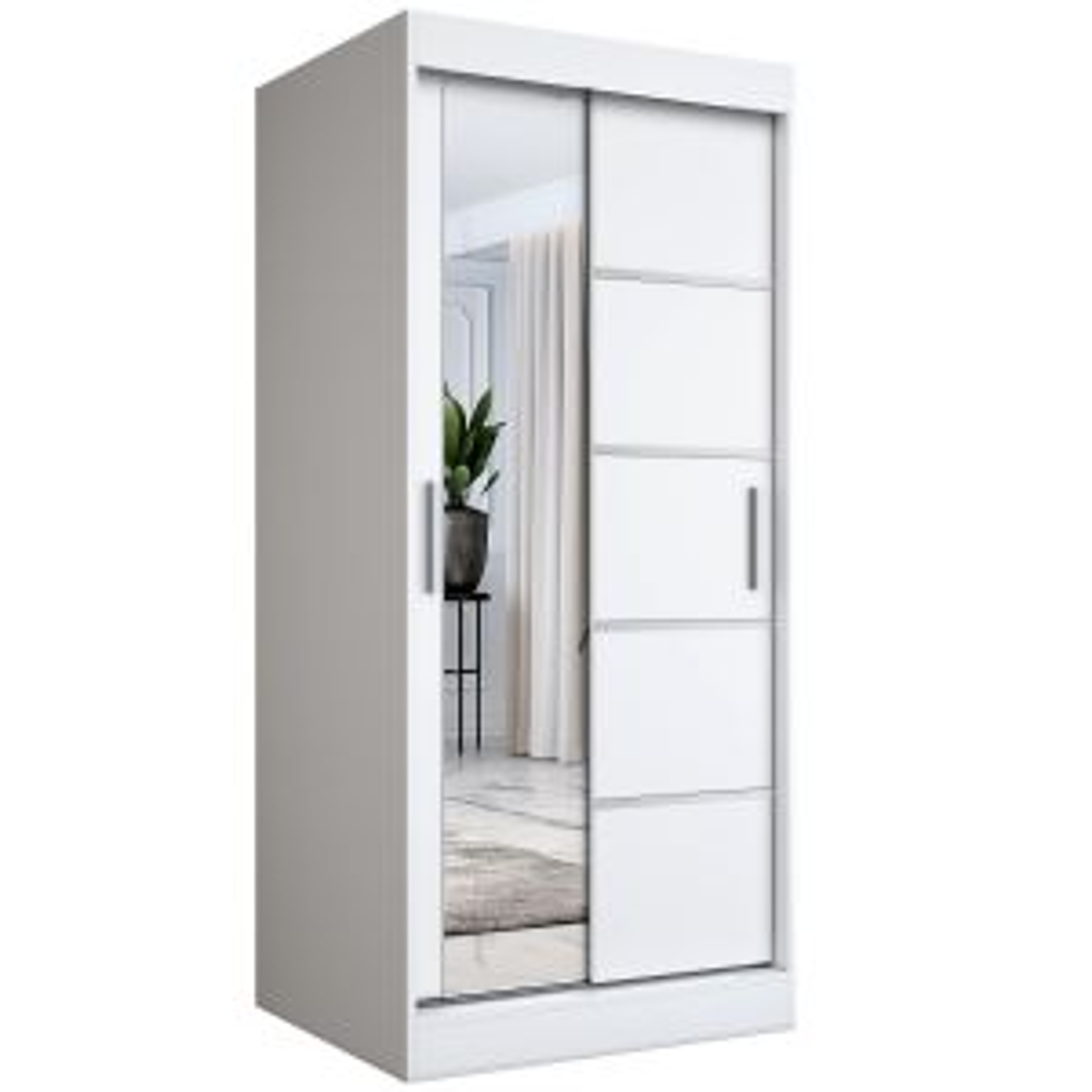 Szafa przesuwna MODUO COMFORT 3 90 biała mat z lustrem